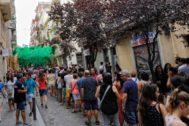 SANTI COGOLLUDO Barcelona, Catalunya 15.08.2019 Ambiente multitudinario en el primer dia de las fiestas del barrio de <HIT>Gracia</HIT> con cerca de una treintena de calles decoradas. En la foto, la calle Verdi, como siempre una de las mas visitadas.
