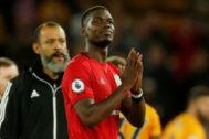 Pogba se disculpa tras el partido ante el Wolverhampton.