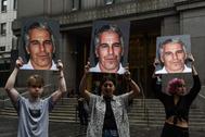 Una protesta contra Jeffrey Epstein, el pasado mes en Nueva York.