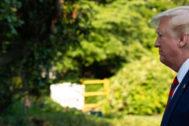 El presidente de EEUU, Donald Trump, en los jardines de la Casa Blanca.