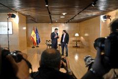 Pablo Iglesias y Pedro Sánchez, reunidos en el Congreso
