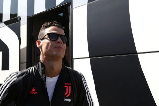 Juventus' Portuguese forward <HIT>Cristiano</HIT> Ronaldo arrives for the friendly football match between Juventus A and Juventus B in Villar Perosa, on August 14, 2019. (Photo by Isabella BONOTTO / AFP)