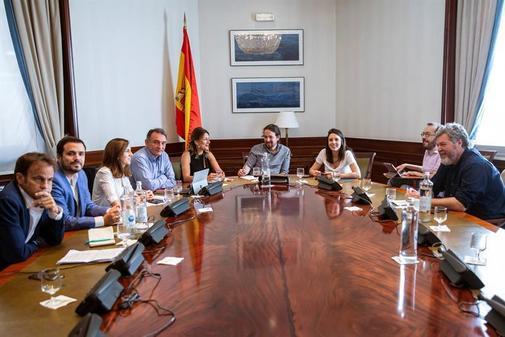 Reunión de los dirigentes de los grupos que forman Unidas Podemos en...