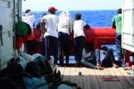 Off Sea (--), 14/08/2019.- A handout photo dated 14 August 2019 and made available by Doctors Without Borders (MSF) on 19 August 2019, showing migrants on board <HIT>Ocean</HIT> <HIT>Viking</HIT> rescue vessel as the ship was heading north to find a port of safety for all people on board after four days of life saving rescue missions. The <HIT>Ocean</HIT> <HIT>Viking</HIT> had only been in the search and rescue area for approximately 10 hours before the first distress alert came in. In total 356 men, women and children were brought on board in four separate rescue operations at sea. MSF's medical team is treating a number of the 356 rescued people onboard for seasickness. EPA/ HANDOUT EDITORIAL USE ONLY/NO SALES