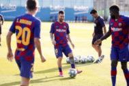 Leo Messi, durante el entrenamiento del Barcelona.
