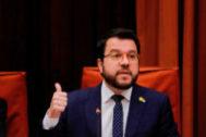 Pere Aragonès, vicepresidente de la Generalitat y conseller de Economía y Hacienda, ayer, en el Parlament.