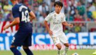 Kubo, en acción con la primera plantilla del Real Madrid.