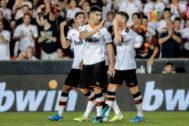 Carlos Soler, en el pasado Trofeo Naranja en el que marcó un gol.