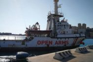 Porto Empedocle (agrigento) (Italy).- The Spanish NGO migrant rescue ship <HIT>Open</HIT> <HIT>Arms</HIT> is docked in the port of Porto Empedocle, Sicily island, southern Italy, 21 August 2019. The ship was seized by Agrigento prosecutors on 20 August amid a hygiene emergency that prompted 15 migrants to jump into the sea and try to swim to the island. (Abierto, Italia) EPA/