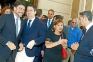 Luis Barcala, Teo García Egea, IsabelBonig y César Sánchez, en la constitución  de la Diputación de Alicante.