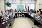El presidente de la Junta, Juanma Moreno, este miércoles en la reunión de la comisión de seguimiento del brote.