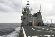 El buque Audaz de la Armada Española, camino de Lampedusa.