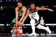 <HIT>Melbourne</HIT> (Australia).- Patty Mills (L) of Australia in action against Donovan Mitchell (R) of the USA during match 1 of the Pre-FIBA World Cup series between Australia and the USA at Marvel Stadium in <HIT>Melbourne</HIT>, Australia, 22 August 2019. (Baloncesto, Estados Unidos) EPA/ AUSTRALIA AND NEW ZEALAND OUT