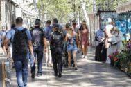 Guardia Urbana patrullando por la Rambla