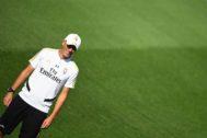 Zidane, en el último entrenamiento antes del partido contra el Valladolid,