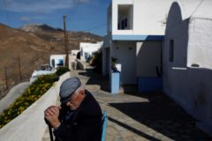 epa06359009 (21/25) Nikolis Andreas, 87, sits in front of his house in the capital of <HIT>Anafi</HIT>, during a mission of military medical staff organised by the Hellenic Navy, on the Greek island of <HIT>Anafi</HIT> in the Aegean sea, Greece, 10 November 2017. Three to four times a year a warship of the Hellenic Navy transfers military doctors of various specialties from Navy, Land and Air forces of Greek Army, along with equipment and nursing staff, to offer medical care to island residents. The missions use existing medical facilities but also classrooms in order to provide medical attention. Doctors and their staff have always been received with great enthusiasm by the islanders. EPA/YANNIS KOLESIDIS ATTENTION: For the full PHOTO ESSAY text please see Advisory Notice epa06358988