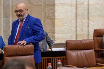 El portavoz de Vox, Alejandro Hernández, en una la sesión de control al Ejecutivo en el Parlamento de Andalucía el pasado junio.