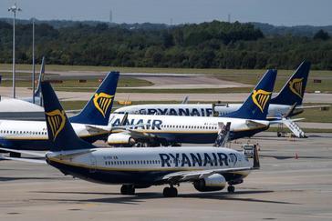 Varios aviones de la compañía Ryanair en Reino Unido.