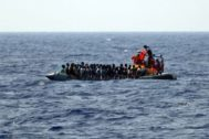 Off Sea (--), 09/08/2019.- A handout photo dated 09 August 2019 and made available by Doctors Without Borders (MSF) on 19 August 2019, showing rescue vessel <HIT>Ocean</HIT> <HIT>Viking</HIT> crew rescuing a group of migrants off the coast of Libya in the Mediterranean. The vessel, that has been at sea since 10 days, rescued a total of 356 migrants in three rescue missions. Over 500 refugees on two NGO vessels are still waiting to be allowed at land while Italy and Malta have denied them access to their harbors. (Italia, Libia) EPA/ HANDOUT EDITORIAL USE ONLY/NO SALES