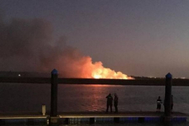 Incendio en las marismas tras estrellarse un ultraligero en Huelva.