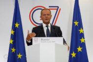 El presidente del Consejo Europeo,  Donald Tusk, durante la rueda de rpensa en Biarritz.