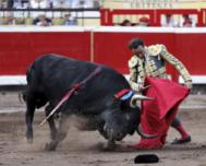 Muletazo genuflexo de Enrique Ponce este martes en Bilbao.