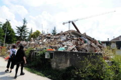 <HIT>Amatrice</HIT> (Italy).- People look at a pile of rubble in <HIT>Amatrice</HIT>, central Italy, on the third anniversary of the earthquake that hit the Lazio town, 24 August 2019. Central Italy suffered a series of devastating earthquakes three years ago, including one on 24 August that claimed around 300 lives, with most victims in the Lazio town of <HIT>Amatrice</HIT>. (Terremoto/sismo, Italia) EPA/