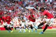 MANCHESTER, ENGLAND - AUGUST 24: Marcus <HIT>Rashford</HIT> of Manchester United misses from the penalty spot during the Premier League match between Manchester United and Crystal Palace at Old Trafford on August 24, 2019 in Manchester, United Kingdom. (Photo by Jan Kruger/Getty Images)