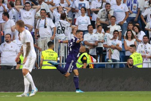 Guardiola celebra el gol del empate en el Bernabéu.