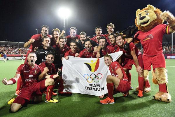 <HIT>Belgium</HIT>&apos;s players celebrate after winning the &apos;EuroHockey&apos;...