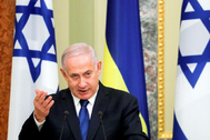 Kiev (Ukraine).- Israeli Prime Minister Benjamin <HIT>Netanyahu</HIT> speaks during a joint statement with Ukrainian President Volodymyr Zelensky (not pictured) at the Mariinskiy Palace in Kiev, Ukraine, 19 August 2019. Benjamin <HIT>Netanyahu</HIT> is on a two-day visit to Kiev to meet with top Ukrainian officials. (Ucrania) EPA/