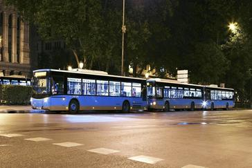 Autobuses de la EMT, en el centro de Madrid.