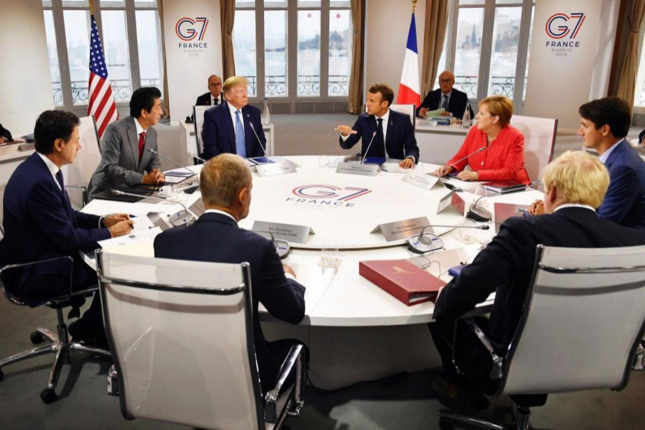 Trudeau, Johnson, Merkel, Tusk, Macron, Shinzo Abe, y Trump,...