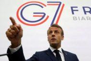 El presidente de Francia, Emmanuel Macron, se dirige a la prensa en la cumbre del G7, en Biarritz.