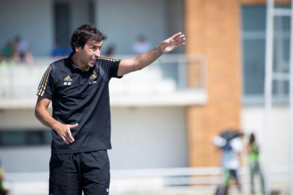 Raúl González, durante el partido Castilla - Las Rozas.