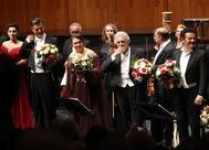 Plácido Domingo y el elenco de 'Luisa Miller', en Salzburgo.