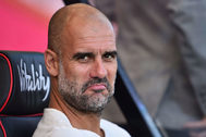Manchester City's Spanish manager Pep <HIT>Guardiola</HIT> looks on ahead of the English Premier League football match between Bournemouth and Manchester City at the Vitality Stadium in Bournemouth, southern England on August 25, 2019. (Photo by Glyn KIRK / AFP) / RESTRICTED TO EDITORIAL USE. No use with unauthorized audio, video, data, fixture lists, club/league logos or 'live' services. Online in-match use limited to 120 images. An additional 40 images may be used in extra time. No video emulation. Social media in-match use limited to 120 images. An additional 40 images may be used in extra time. No use in betting publications, games or single club/league/player publications. /