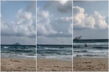 Cae al mar un avión del Ejército y buscan al piloto, que logró saltar