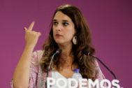 Noelia Vera, portavoz de la ejecutiva de Podemos, comparece ante los medios tras la reunión de este órgano.