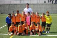 Fati, con el número 5, en el Herrera, su primer equipo en España.