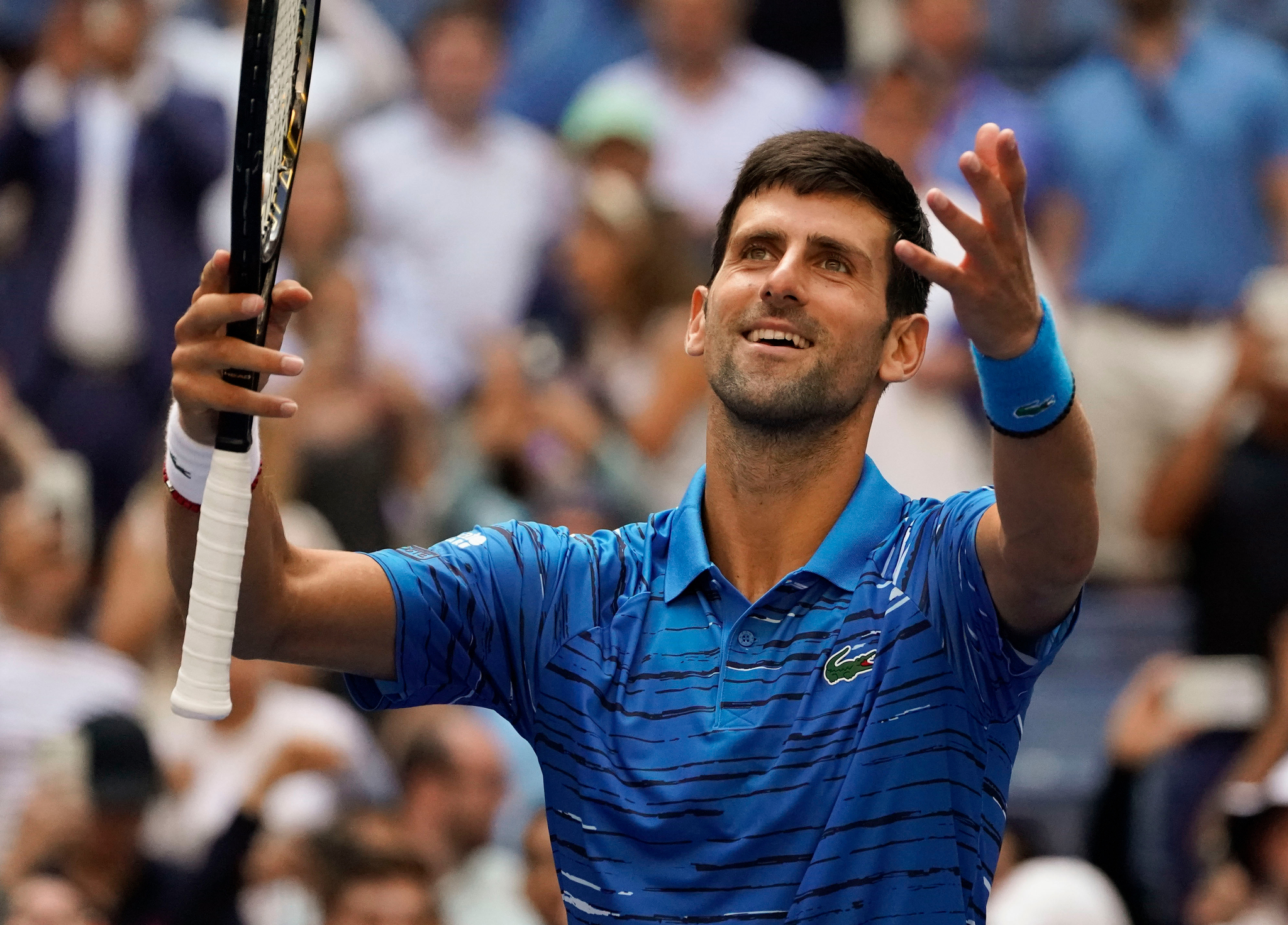 Aug 26, 2019; Flushing, NY, USA; Novak <HIT>Djokovic</HIT> of Serbia reacts after defeating Roberto Carballes Baena of Spain in the first round on day one of the 2019 U.S. Open tennis tournament at USTA Billie Jean King National Tennis Center. Mandatory Credit: Robert Deutsch-USA TODAY Sports