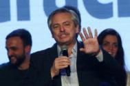 El candidato presidencial, Alberto Fernández, en un centro cultural de Buenos Aires el 11 de agosto, día de las elecciones primarias en las que resultó ganador.