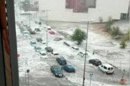 Inundaciones por las fuertes lluvias ayer en Arganda del Rey (Madrid)