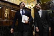 Santiago Abascal e Iván Espinosa de los Monteros, en el Congreso.