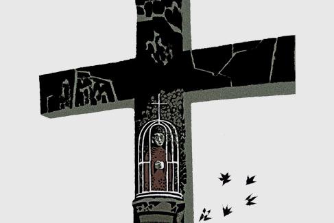 El Santo Aparecido sin sexo enjaulado en un monte gallego