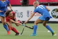 Antwerp (Belgium).- <HIT>Georgina</HIT> <HIT>Oliva</HIT> (L) of Spain fights for the ball with Anastasia Kolpakova (R) of Russia during the EuroHockey 2019 Women match between Spain and Russia in Antwerp, Belgium, 17 August 2019. (Bélgica, Rusia, España, Amberes) EPA/