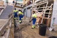 Labores de limpieza tras el fuerte temporal en Arganda