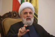 FILE PHOTO: Lebanon's Hezbollah deputy leader Sheikh Naim Qassem gestures as he speaks during an interview with Reuters in <HIT>Beirut</HIT>
