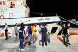 El Open Arms, en su desembarco en Lampedusa el pasado 21 de agosto.