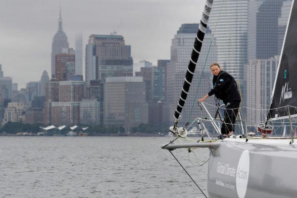 Swedish 16-year-old activist <HIT>Greta</HIT> Thunberg sails on the...